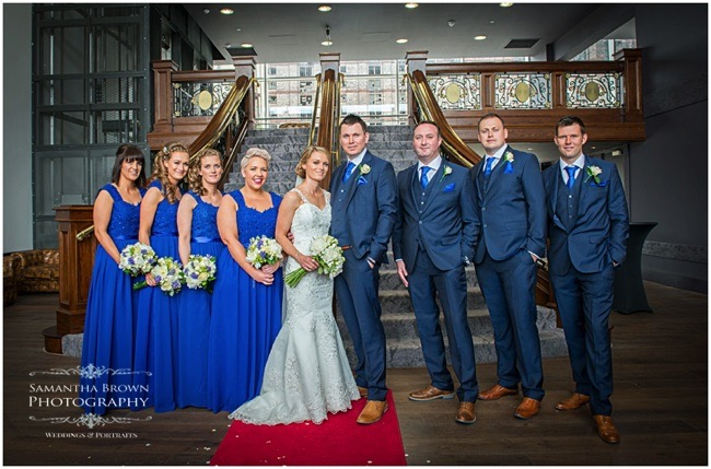 Bridal party, photographed on the steps in The Titanic Hotel Liverpool