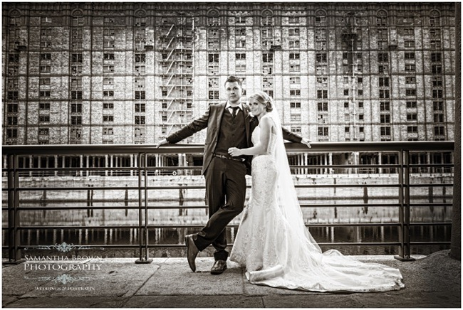Bride and Groom infant of Tobacco warehouse at The Titanic Hotel Liverpool