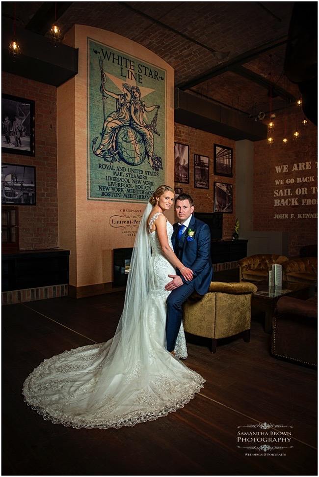 wedding couple inside the Titanic Hotel