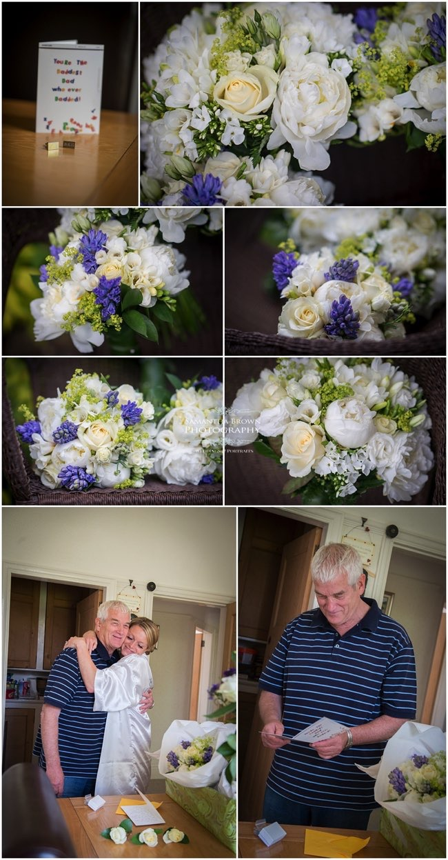 Bridal flowers in a mix of white roses, purple statis and freesia