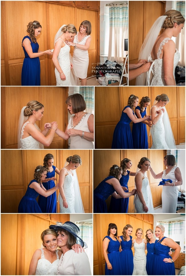 Bride dressing - photography by Samantha brown