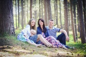 family in Formby woods