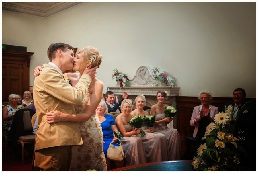 first kiss Wedding at St Georges Hall