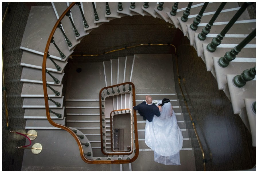 Wedding at St Georges Hall staircase