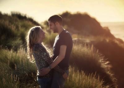 couple at sunset in Formby woods by Samantha Brown Photography