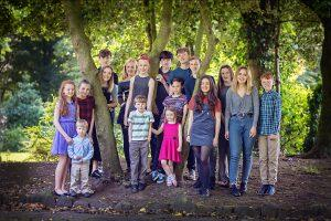 portrait of 17 grandchildren in the park, by samantha brown photography