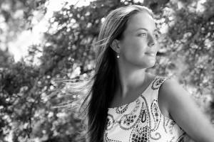 girl looking sideways in black and white by Samantha Brown Photography