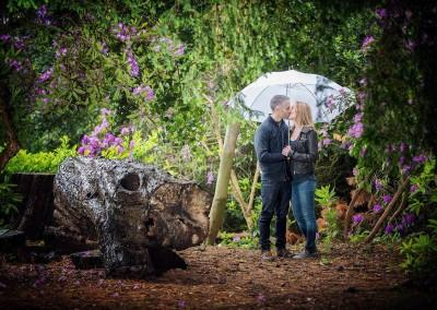 couple under an umbrella in the park
