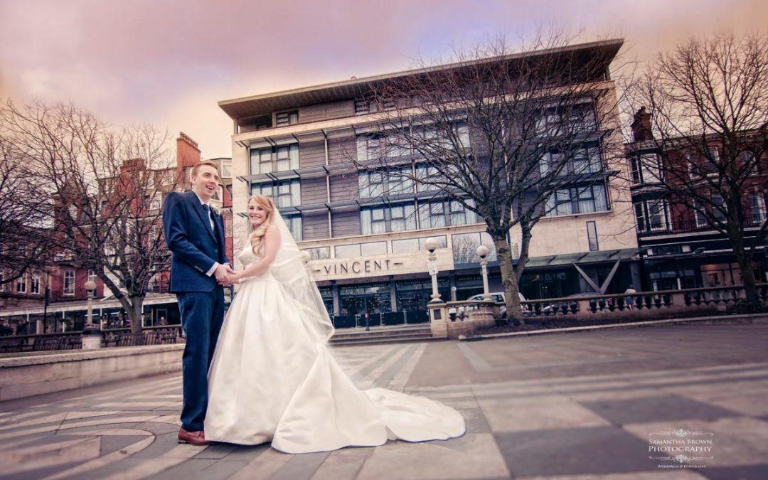 Bride and Groom at the Vincent Hotel Southport, photographed by Samantha Brown