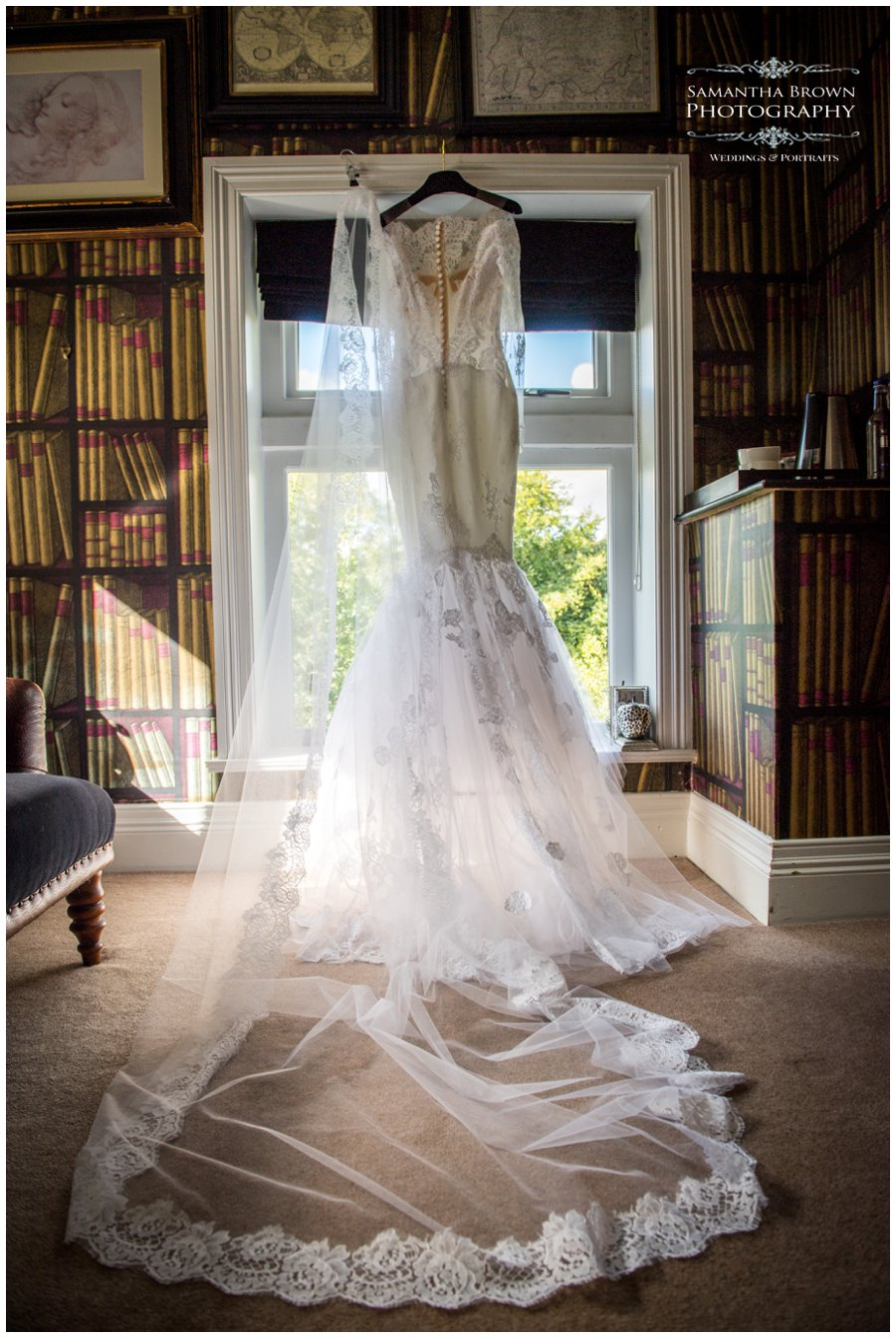 wedding dress at Mitton Hall