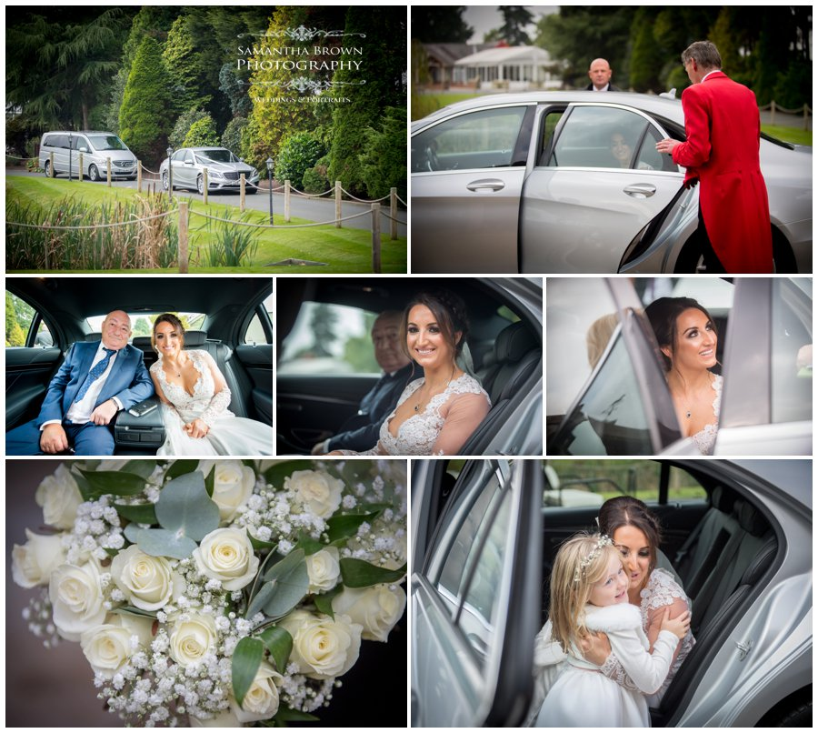 Bride arrives at Colshaw Hall