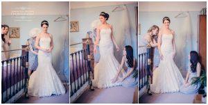 bride dressing with bridesmaids