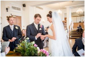 Exchange of rings by bride and groom