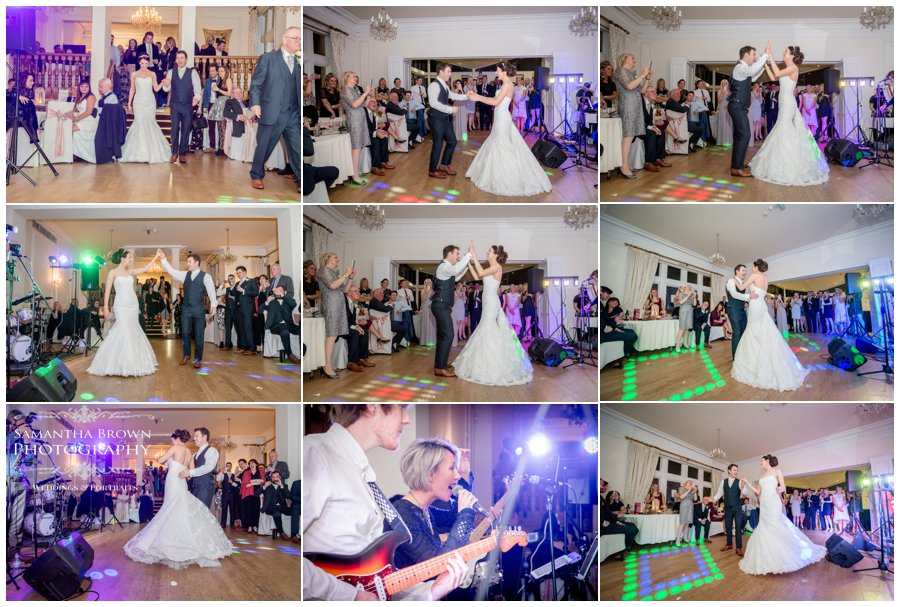 first dance of bride and groom at west tower