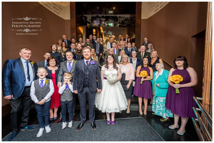 wedding group photo at hard Days Night Hotel Liverpool
