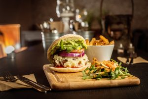 beef burger with melted cheese at the blackburn pub liverpool