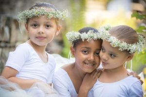 3 flour girls at a wedding