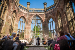 Couple getting married at the bombed out church Liverpool