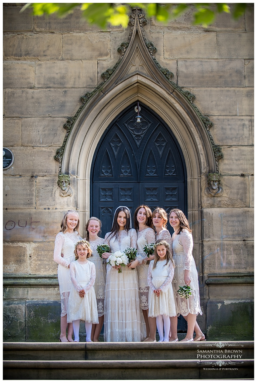 St Lukes Bombed out Church Liverpool bride and bridesmaids