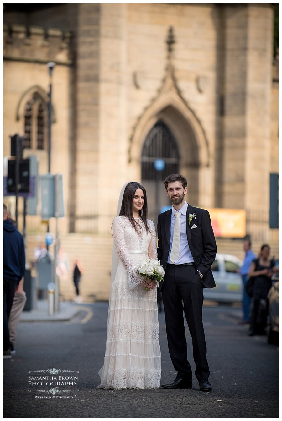 St Lukes Bombed out Church Liverpool Bride and groom on Bold Street