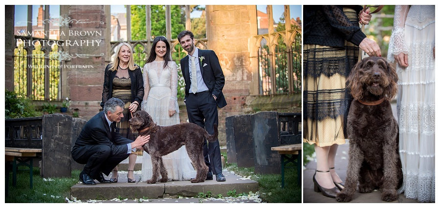 St Lukes Bombed out Church Liverpool wedding Bride and Groom with pet dog
