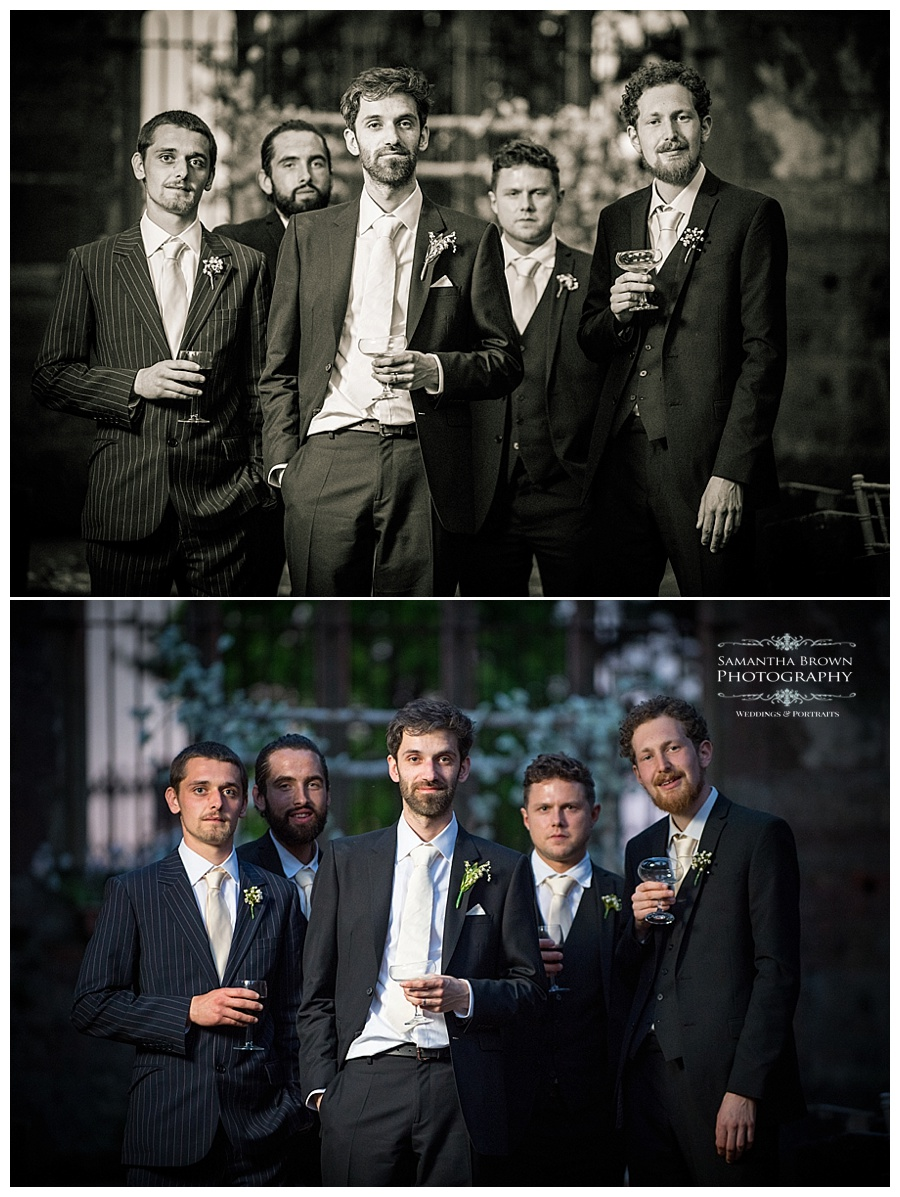 St Lukes Bombed out Church Liverpool wedding Groom and guys