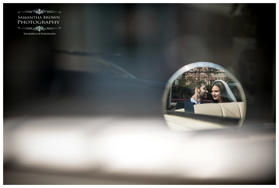 St Lukes Bombed out Church Liverpool Gardens Bride and groom in car mirror