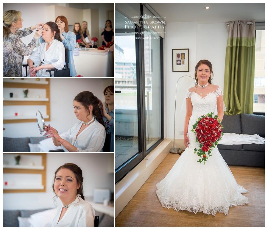Bride getting ready at Malmaison Liverpool