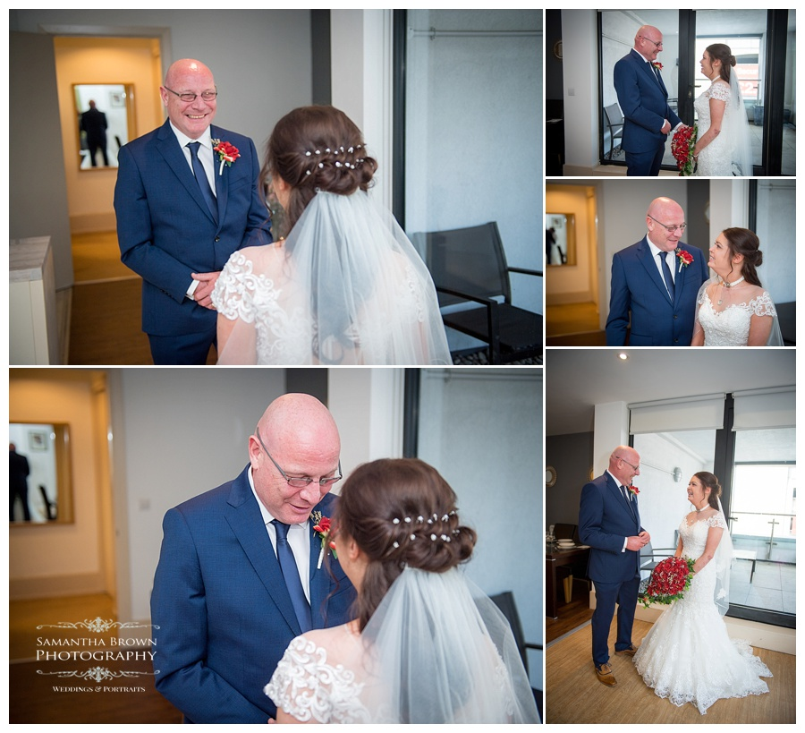 Bride seeing dad for first time in her dress at Malmaison Liverpool