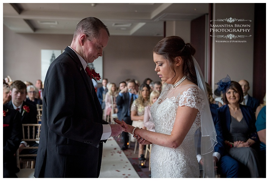 wedding ceremony exchange of rings at Malmaison Liverpool