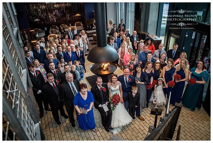 wedding group shot at Malmaison Liverpool