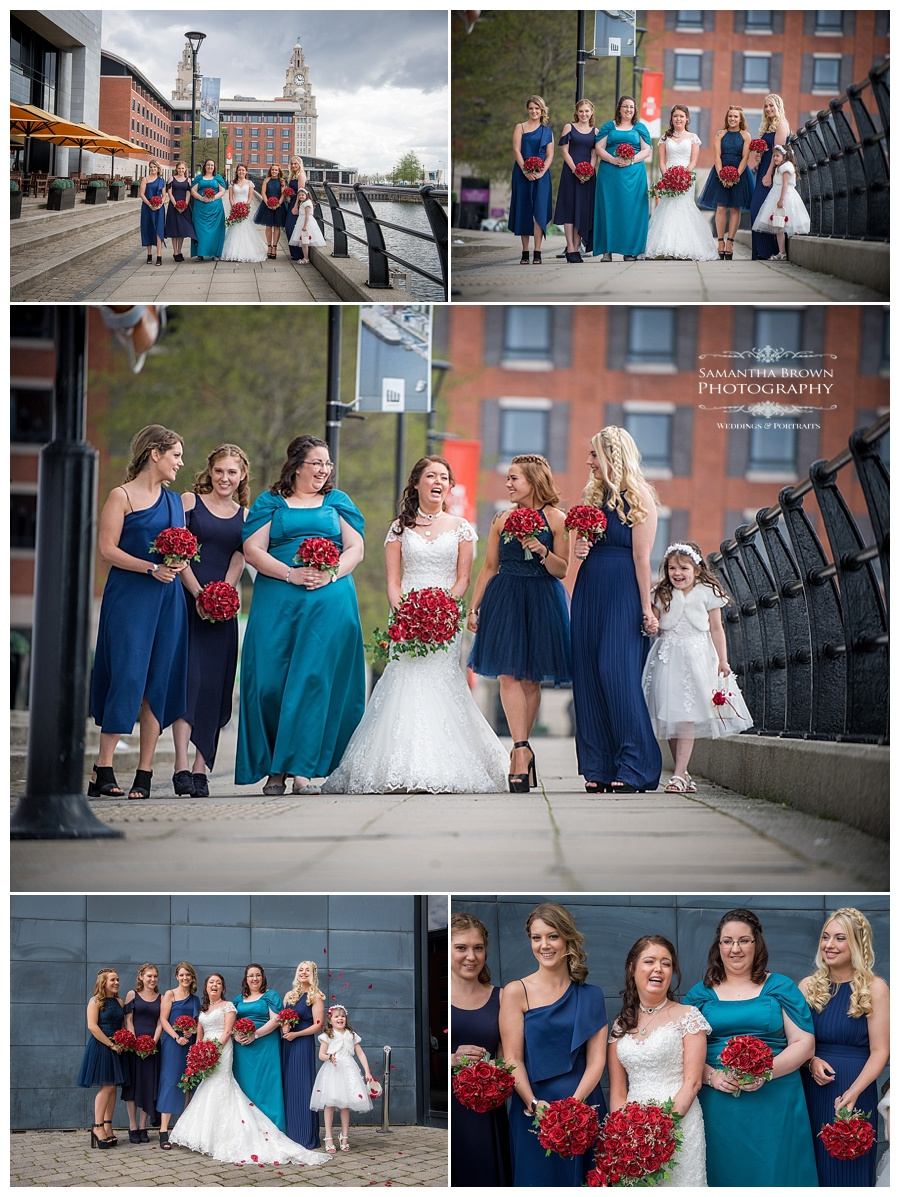 wedding group shots, all the girls at Malmaison Liverpool