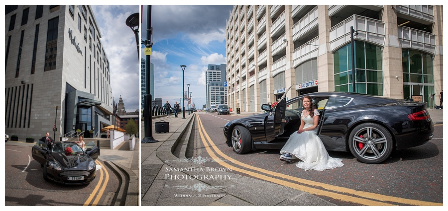 wedding car shots at Malmaison Liverpool